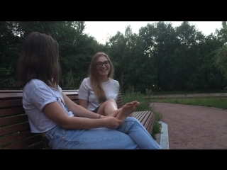 FEET TICKLE CHALLENGE nerd blonde teen girl with glasses tickle tortured on her SOLES by her friend on the park