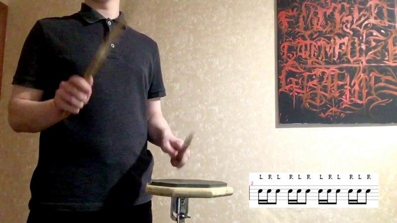 Rudiments based on single strokes! Snare drum for beginners. Рудименты для начинающих барабанщиков