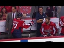 Kuznetsov and Ovechkin arguing on the bench