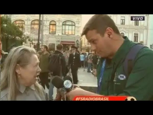 Mulher russa briga com repórter brasileiro da Fox Sports