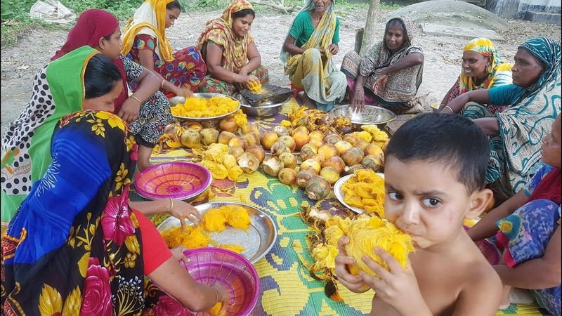 Traditional Cake Of Toddy Palm Fruit For Whole Village Peoples - Tasty Village Cake Making By Women