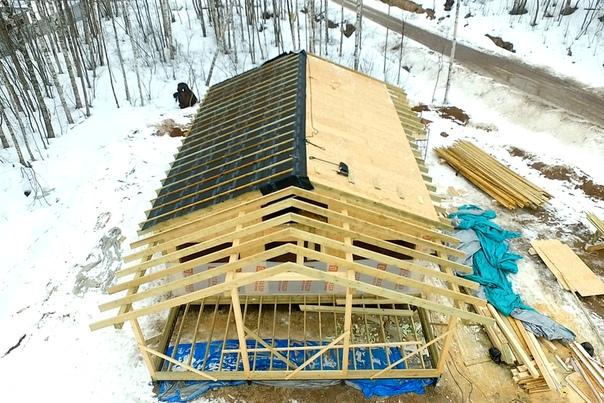 Собираем стропильную систему дома со вторым светом и лофтом #ультрасип_васильевка 👌🏻