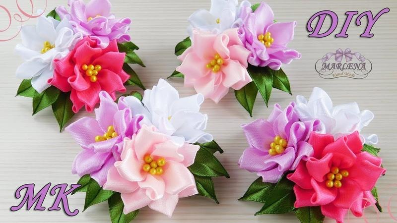 🌺 Цветы из узких лент. Зажимы с тройным цветком. Канзаши МК/DIY