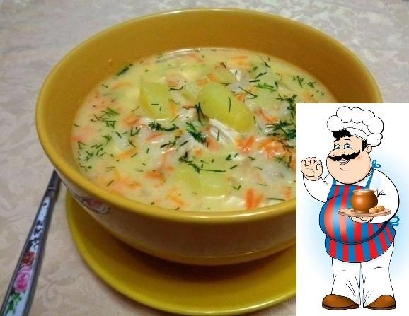сырный суп с куриным филе ингредиенты: 5-6 картофелин среднего размера 1 крупная луковица 1-2 моркови 2 куриных филе 150 г риса (желательно длиннозерного) плавленый сыр в ванночке (чем больше,