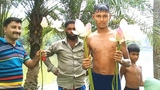 Amazing Lotus Flower collecting the young boy from lake .