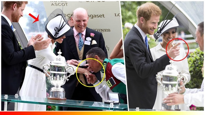 Moment star Jockey steals a kiss from Meghan Markle as she joins Prince Harry at Royal Ascot 2018