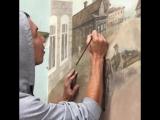 ❤ Йошкаролинец нарисовал историческое граффити на стене одного из зданий на улице Советской 105