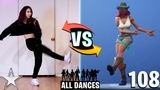 ALL 108 FORTNITE DANCES/EMOTES VS REAL LIFE [SMOOTH MOVES, FLAMENCO, GLITTER] *NEW UPDATE 2018*