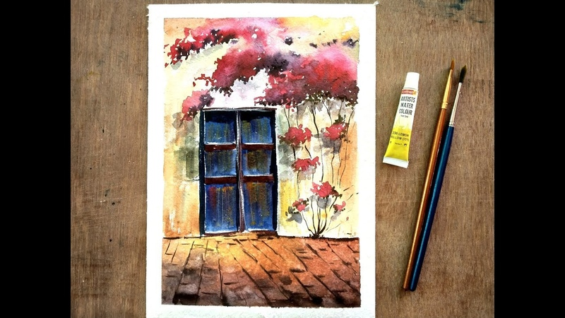 Painting a Door and flowers in watercolor - Speed Painting