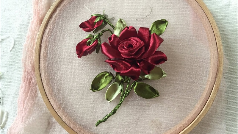 D.I.Y Ribbon Embroidery Red Rose Hướng dẫn thêu ruy băng hoa hồng