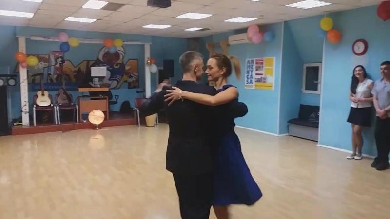 Танго. Танцует Сергей Салтыков с ученицей после 3 месяцев индивидуальных занятий