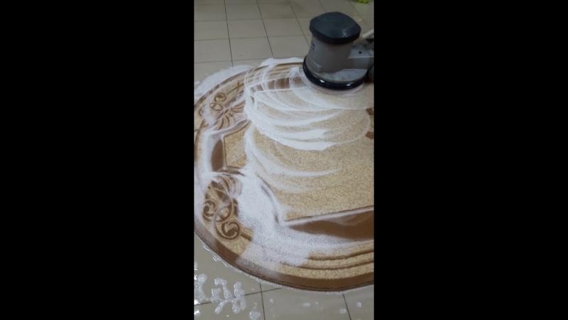 Процесс шампунирования ковра