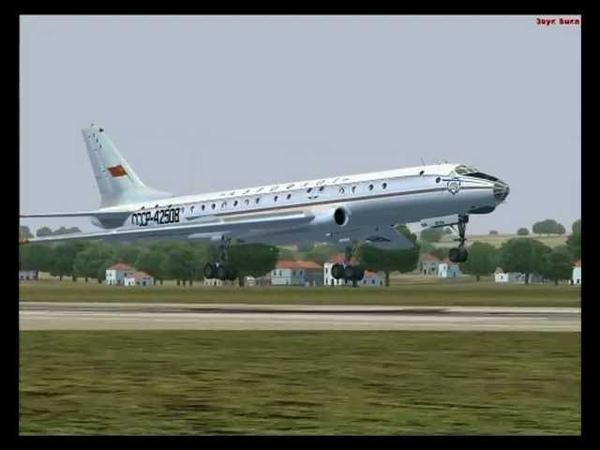 FS2004 Tu-104 Visual landing to Krakow (EPKK). Ту-104. Визуальная посадка.