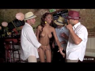 Legalporno - glam porn - sexy latina waitress katia de lys craves orgasmic triple dick salsa fuck gp133