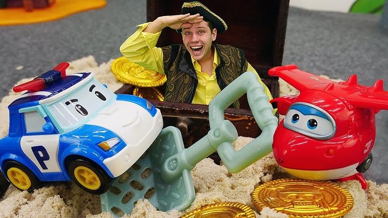 Видео про игрушки из мультфильмов: Тайо Поли и Чейз в путешествии!