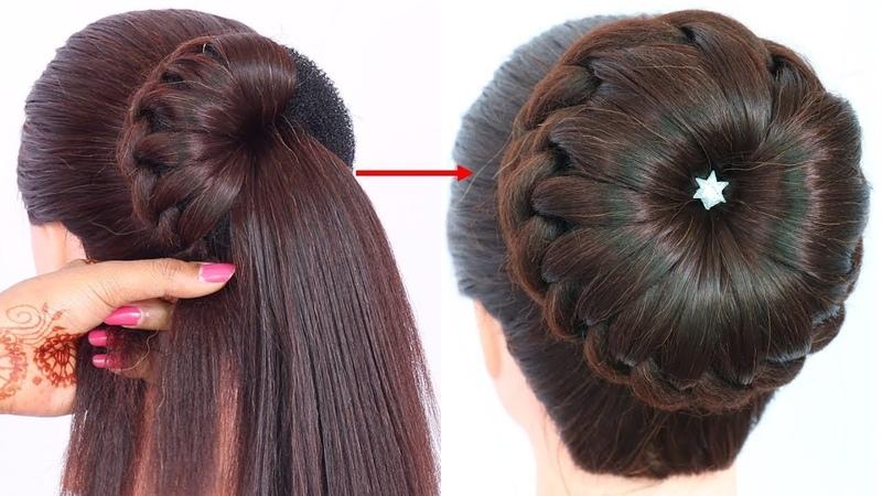 New bun hairstyle for weddingpartyfunction   trending hairstyle   party hairstyle   updo hairstyle