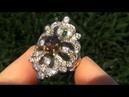ESTATE 4.50 Carat Demantoid Garnet Diamond Ring Solid 14K Gold