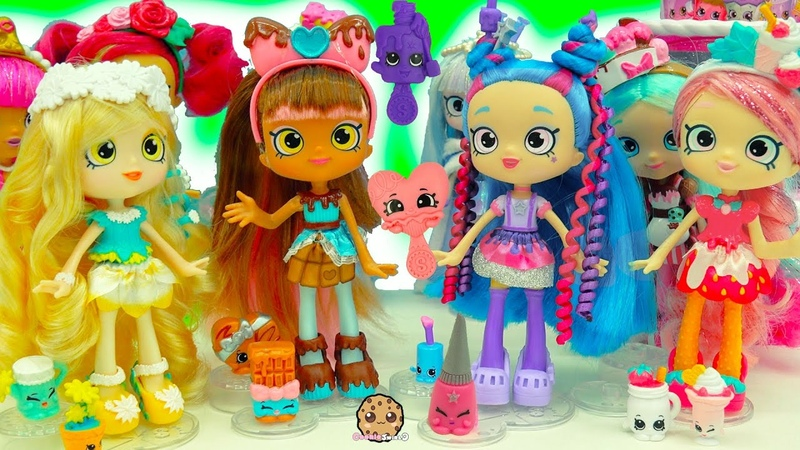 New Season 7 Shopkins Shoppies Dolls Cocolette Lucy Smoothie, Daisy Petals Polli Polish