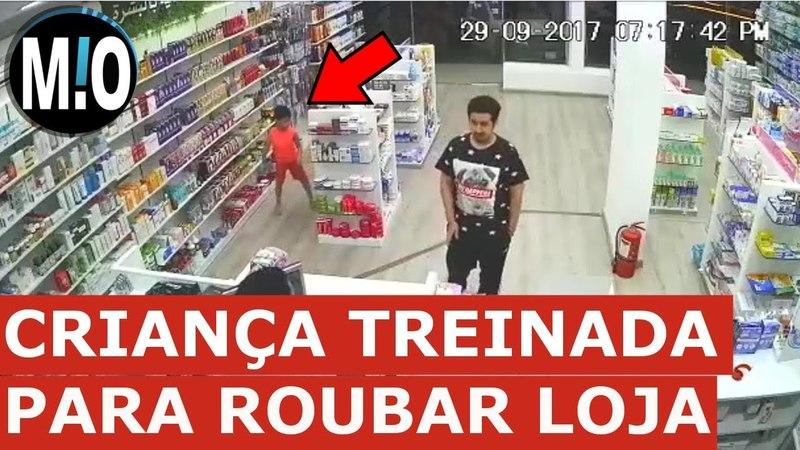 Criança roubando Farmácia, rouba com adulto Homem usa criança para roubar farmácia