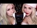 ASMR👂Ear L👅CKING💋 TWIN Santa Snow Maiden, K❣ssing, M♥uth Sound, Breath❣ng🎁 АСМР Звуки рта, поцелуи❄