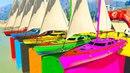 Мультики для детей Цветные Корабли и Супергерои Учим Цвета и Цифры Мультики про машинки для малышей