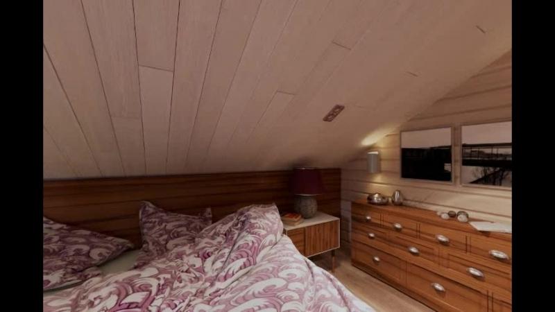 3D-обзор дома по проекту Некрасово. 2 этаж. Спальня.