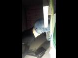 Девушка показывает свой орех в обтягивающих джинсах