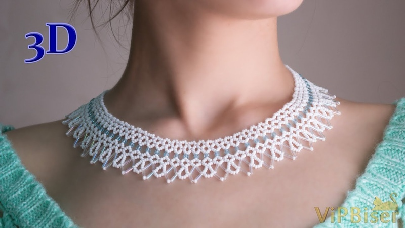 Beautiful and Delicate Bugle Bead Necklace in White and Blue Color 3D Beading Tutorial