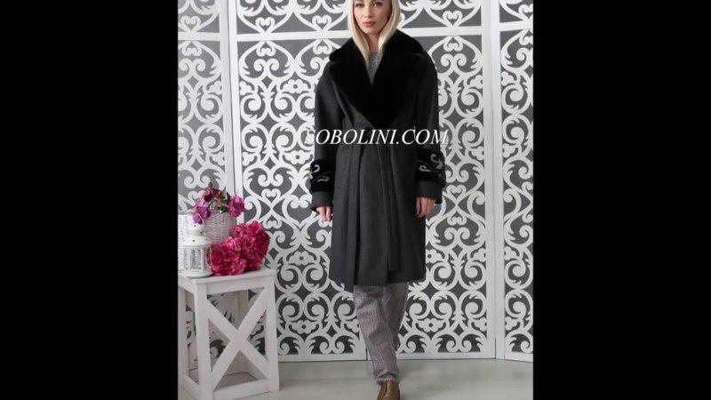 Женское пальто с английским воротником из норки Blackglama инкрустация в мехе! Эксклюзив!