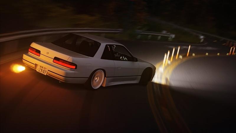 DOUSOJIN TOUGE S13 Drift run - Assetto Corsa [NIGHT MOD]