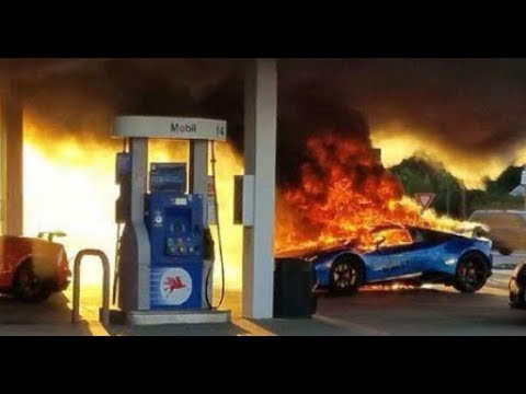 HD Lambos in Flames - Caught in fire at Gas station