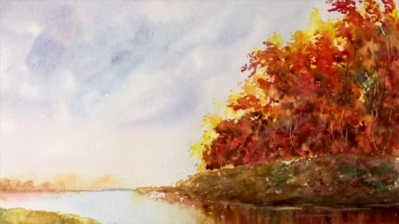 Осенний пейзаж акварелью. Рисуем группу деревьев губкой