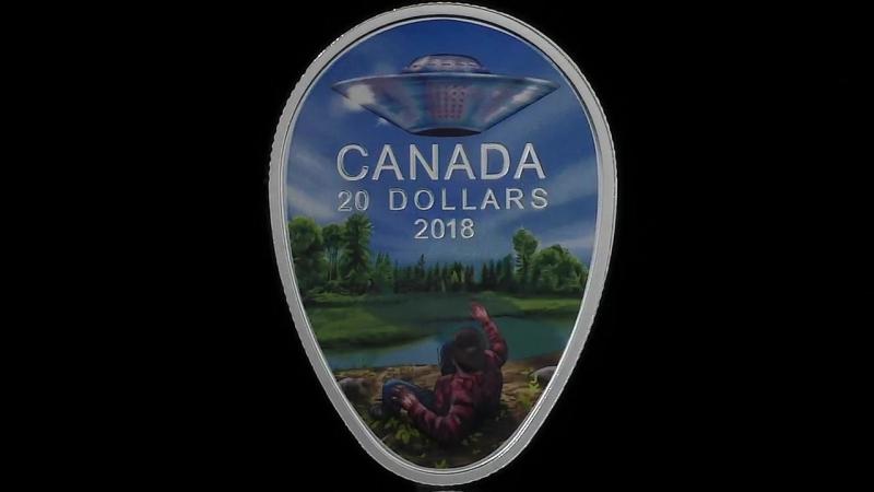 Серебряная монета Канады Встреча с НЛО