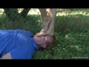 Mistress Yuliya face trampling dirty feet in the park