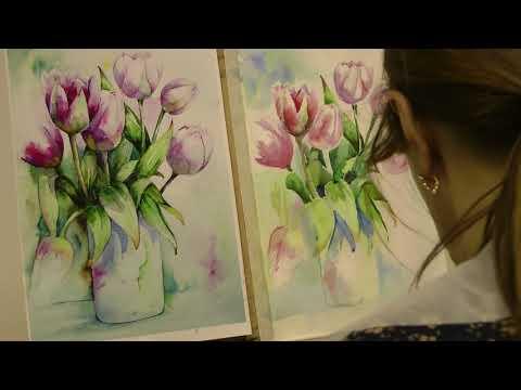 Мастер-класс по акварельной живописи для начинающих спб. Тюльпаны акварелью