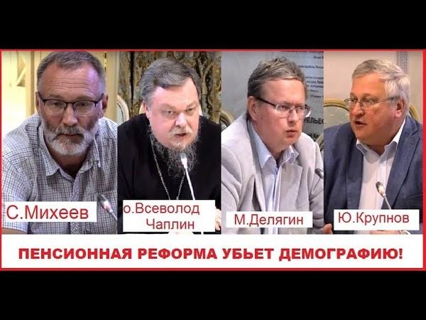 Пенсионная реформа убьет демографию Михеев Делягин Крупнов Чаплин и др в Общественной палате