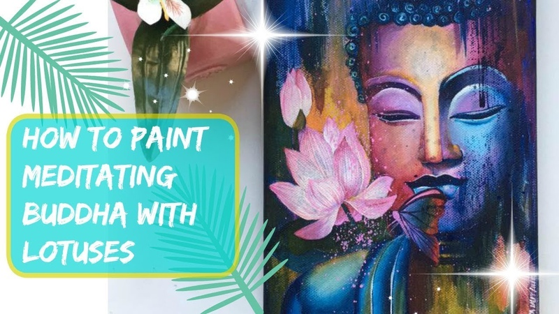 How to paint MEDITATING BUDDHA WITH LOTUSES Acrylic speed painting on canvas