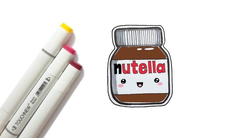 KAWAII НУТЕЛЛА поэтапно / Как нарисовать кавайные рисунки / NUTELLA с кавайной мордашкой