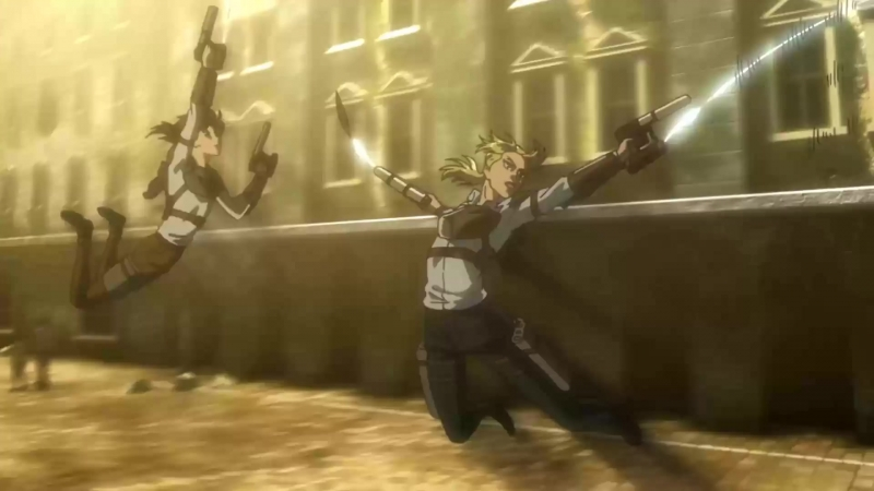 SnK s03e01: Kenny's ambush team using anti-personnel vertical maneuvering equipment - scene without dimming
