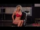 Busty Blonde Alexa Grace in red lingerie striptease