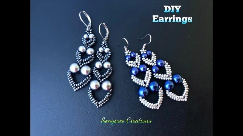 """Adore Heart"" Earrings. DIY Beaded Earrings.DIY jewelry. How to make beaded earrings"