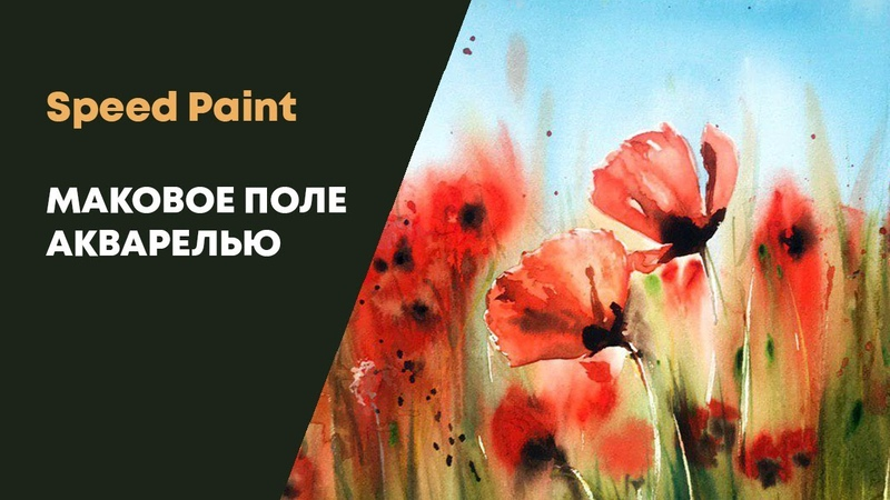 Как нарисовать маковое поле акварелью Speed Paint - Poppy field with watercolors