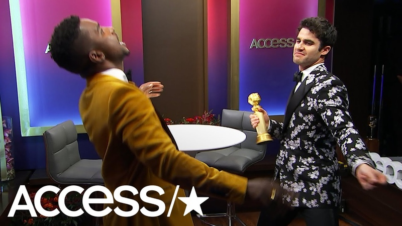 Rami Malek, Darren Criss More Dance With Their Golden Globes Trophies At Access' Backstage Boogie!