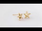 ShiFuYuan Горячий продавая оригинальные малые серьги стержня диаманта диаманта звезды звезды 18K желтого золота для женщин штраф
