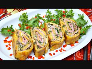 Очень вкусное горячее блюдо из картофеля - картофельный рулет с ветчиной и сыром