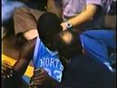 Michael Jordan bangs his head on the backboard - Amazing block attempt in college