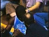Michael Jordan bangs his head on the backboard - Amazing block attempt in college