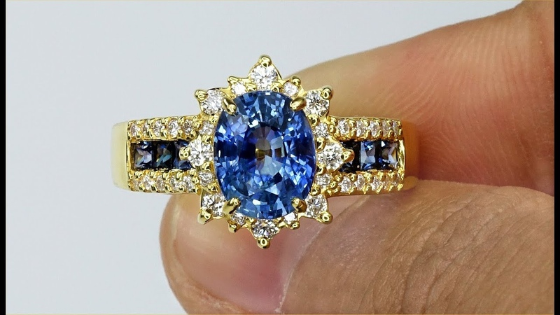 GIA Certified Top Gem Natural Top Blue Sapphire Diamond Estate 14k Gold Ring Solid