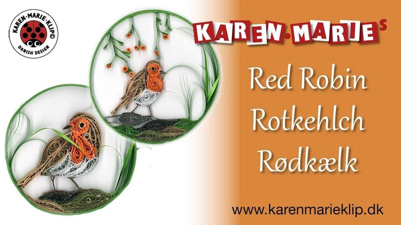 Quilling Red Robin Rotkehlch Rødkælk - Karen Marie Klip Papir
