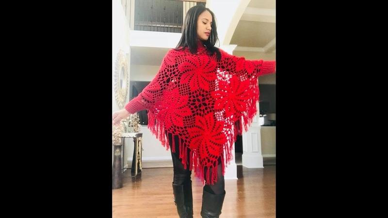 Crochet poncho facil para todas las tallas con cuello y puños